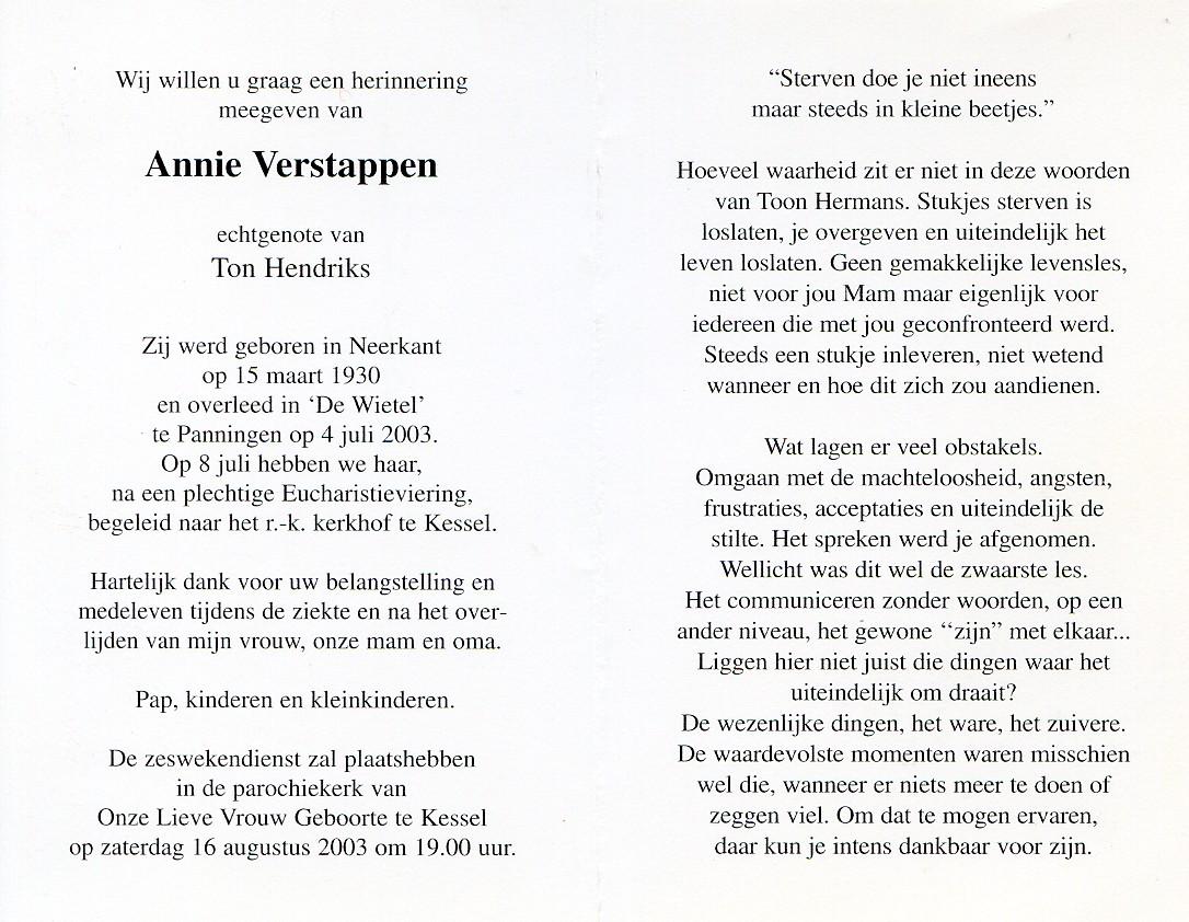 Annie Hendriks Verstappen 1930 2003